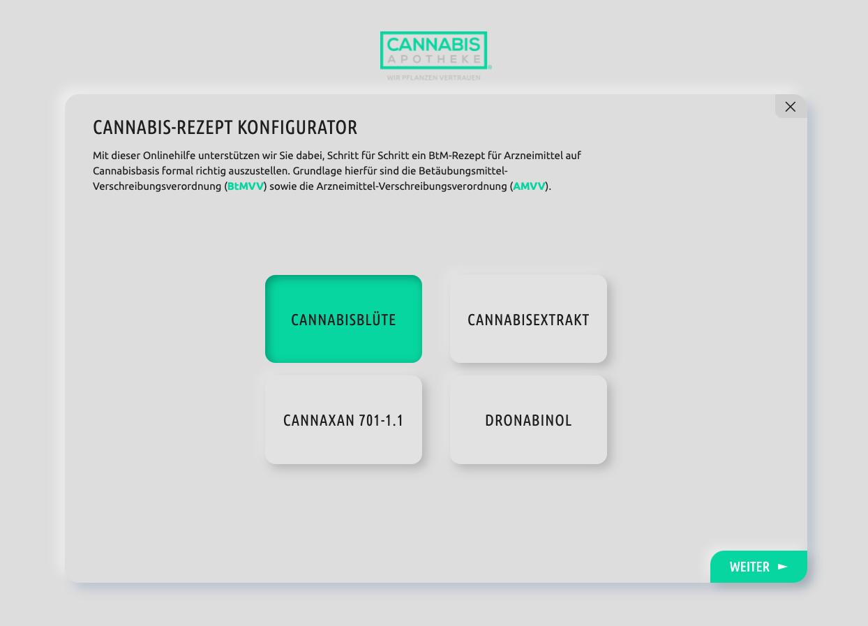 Der Cannabis Rezept Konfigurator ist auf dem BIld. Mit dem kann man formal richtig ausgestellte Rezepte generieren.